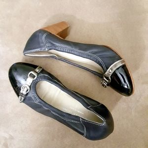 AGL Navy Patent Leather Front Buckle Heels sz 7
